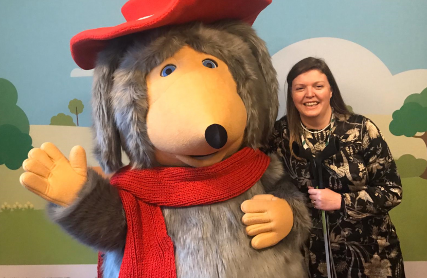 Cherilyn Mackrory MP and Orinoco the womble (L)